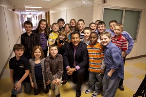 John Quiones with students